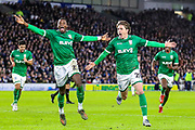 Goal! Sheffield Wednesday midfielder Adam Reach (20) scores a goal and celebrates 0-1 during the The FA Cup match between Brighton and Hove Albion and Sheffield Wednesday at the American Express Community Stadium, Brighton and Hove, England on 4 January 2020.
