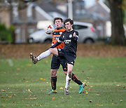 - DUSC (tangerine) v Cannon Fodder (black) in the Dundee Saturday Morning Football at Fairmuir, Dundee. Photo: David Young<br /> <br />  - © David Young - www.davidyoungphoto.co.uk - email: davidyoungphoto@gmail.com
