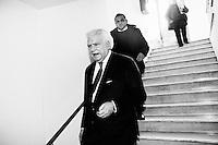 """ROME, ITALY - 24 JANUARY 2013: Denis Verdini, national coordinator of Silvio Berlusconi's People of Freedom party (PdL, popolo della Libertà), steps out of the Capranica Theatre after the PdL national convention in which Silvio Berlusconi, former PM and leader of The People of Freedom party, presented the PdL candidates for the upcoming general elections in Rome, on January 25, 2013. <br /> <br /> A general election to determine the 630 members of the Chamber of Deputies and the 315 elective members of the Senate, the two houses of the Italian parliament, will take place on 24–25 February 2013. The main candidates running for Prime Minister are Pierluigi Bersani (leader of the centre-left coalition """"Italy. Common Good""""), former PM Mario Monti (leader of the centrist coalition """"With Monti for Italy"""") and former PM Silvio Berlusconi (leader of the centre-right coalition).<br /> <br /> ###<br /> <br /> ROMA, ITALIA - 24 GENNAIO 2013: Denis Verdini, coordinatore nazionale del Popole della Libertà di Silvio Berlusconi, esce dal Teatro Capranica dopo la convention nazionale del PdL in cui l'ex-premier e leader del Popolo della Libertà ha presentato i candidati PdL alle prossime elezioni politiche, a Roma il 24 gennaio 2013.<br /> <br /> Le elezioni politiche italiane del 2013 per il rinnovo dei due rami del Parlamento italiano – la Camera dei deputati e il Senato della Repubblica – si terranno domenica 24 e lunedì 25 febbraio 2013 a seguito dello scioglimento anticipato delle Camere avvenuto il 22 dicembre 2012, quattro mesi prima della conclusione naturale della XVI Legislatura. I principali candidate per la Presidenza del Consiglio sono Pierluigi Bersani (leader della coalizione di centro-sinistra """"Italia. Bene Comune""""), il premier uscente Mario Monti (leader della coalizione di centro """"Con Monti per l'Italia"""") e l'ex-premier Silvio Berlusconi (leader della coalizione di centro-destra).ROME, ITALY - 24 JANUARY 2013: Silvio Berlusconi, former PM and leader of The People """