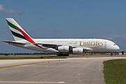Images from the inaugural flight of Emirates 219, A388, nonstop service from Dubai to Orlando.