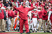FAYETTEVILLE, AR - OCTOBER 24:  Head Coach Bret Bielema of the Arkansas Razorbacks yells to a official during a game against the Arkansas Razorbacks at Razorback Stadium Stadium on October 24, 2015 in Fayetteville, Arkansas.  (Photo by Wesley Hitt/Getty Images) *** Local Caption *** Bret Bielema