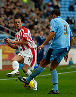 Photo: Ed Godden.<br />Coventry City v Stoke City. Coca Cola Championship. 02/12/2006. Stoke's Lee Hendrie (L) is met by Marcus Hall.