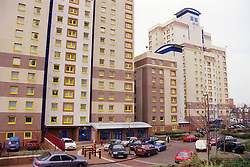 Renovated tower blocks of council flats,