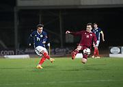 10th November 2017, McDiarmid Park, Perth, Scotland, UEFA Under-21 European Championships Qualifier, Scotland versus Latvia; Scotland's Stephen Mallan fires in a shot