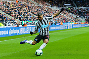 DeAndre Yedlin (#22) of Newcastle United crosses the ball during the Premier League match between Newcastle United and Everton at St. James's Park, Newcastle, England on 9 March 2019.
