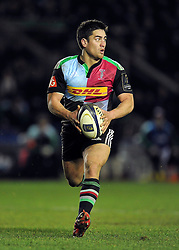 Ben Botica of Harlequins in possession - Photo mandatory by-line: Patrick Khachfe/JMP - Mobile: 07966 386802 17/01/2015 - SPORT - RUGBY UNION - London - The Twickenham Stoop - Harlequins v Wasps - European Rugby Champions Cup