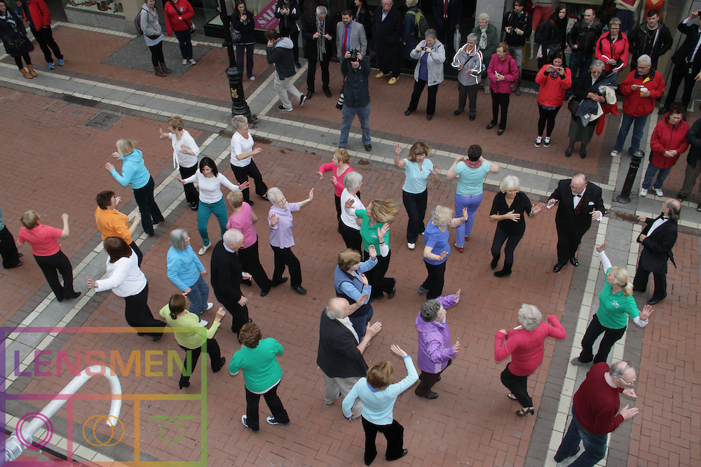"""Members of Older People's organisations and friends mark European Year of Active Ageing and Solidarity between the Generations on Dublin's Grafton Street...Europe Day 9 May: Celebrating the older generation..Today, 9 May, is Europe Day and this year it's all about the European Year of Active Ageing and Solidarity Between the Generations. ..The celebrations kicked off with a flash mob of older and younger people dancing together to music from a live swing band in Grafton Street in front of Bewley's Cafe...A video of the flash mob will be available later today on youtube: http://www.youtube.com/user/EUIRELAND..This year's Europe Day celebrates the concept of Active Aging and Solidarity between Generations by turning stereotypes on their heads...Barbara Nolan, Head of the European Commission's Representation in Ireland said: """"By challenging the stereotypes which lead to discrimination against older people, older people themselves are also challenged to redefine their own roles. The fact of the matter is that the older people in our society are a valuable but often untapped resource."""".   .Celebrations went on with a free open doors event in European Union House. Minister of State for European Affairs, Lucinda Creighton T.D., and Members of more than 20 voluntary and public bodies involved in Ireland 's year of Active Ageing attended. Live music was provided by The Swing Cats and snacks from EU Member State embassy kitchens were served. . .For more Information regarding the European Year of Active Ageing and Solidarity Between the Generations in Ireland see:.http://www.activeageing.ie/  . ."""