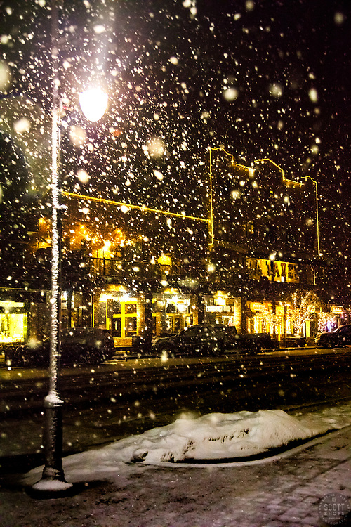 """Downtown Truckee 59"" - Photograph of Historic Downtown Truckee shot at night during a snowstorm."