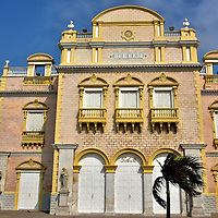 Heredia Theater in Old Town, Cartagena, Colombia<br /> The Heredia Theater was built in 1911 on the site of an early 17th century church named La Merced.  This performing arts center was designed by Luis Felipe Jaspe, the same architect responsible for the Torre del Reloj (Clock Tower).  It was called the Municipal Theater when it opened as part of the city's celebration of its 100 years of independence.  Now it is named after the city's founding father, Pedro de Heredia. Teatro Heredia Adolfo Mejía was beautifully restored in 1998.