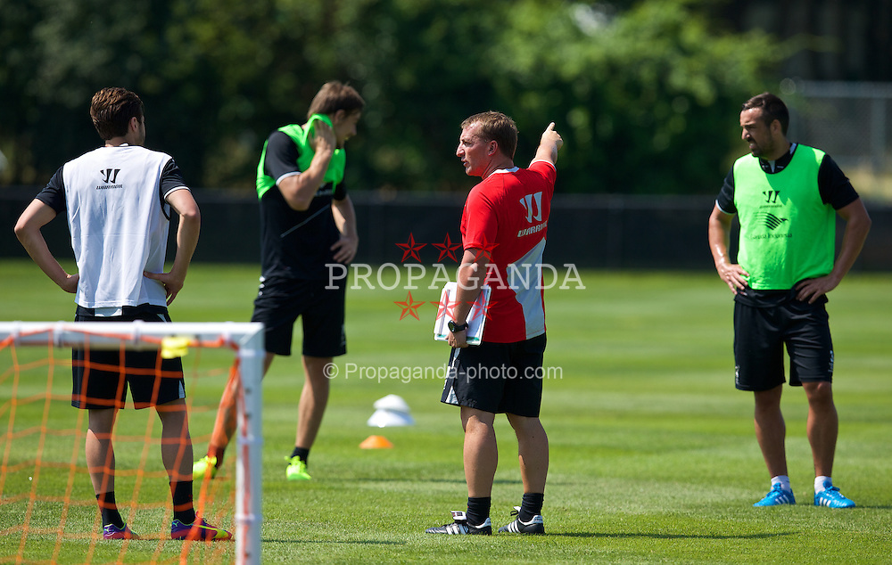 HARVARD, USA - Tuesday, July 22, 2014: Liverpool's manager Brendan Rodgers during a preseason training session at the Harvard Stadium in Boston on day two of the club's USA Tour. (Pic by David Rawcliffe/Propaganda)
