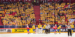 08.05.2013, Globe Arena, Stockholm, SWE, IIHF, Eishockey WM, Schweden vs Norwegen, im Bild Sverige Sweden fans fan supporter supportrar klack publik crowd // during the IIHF Icehockey World Championship Game between Sweden and Norway at the Ericsson Globe, Stockholm, Sweden on 2013/05/08. EXPA Pictures © 2013, PhotoCredit: EXPA/ PicAgency Skycam/ Johan Andersson..***** ATTENTION - OUT OF SWE *****