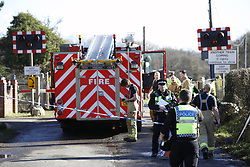 © Licensed to London News Pictures. 17/02/2018. Horsham, UK. The scene at a level crossing where two people have been killed near the village of Barns Green. Photo credit: Peter Macdiarmid/LNP