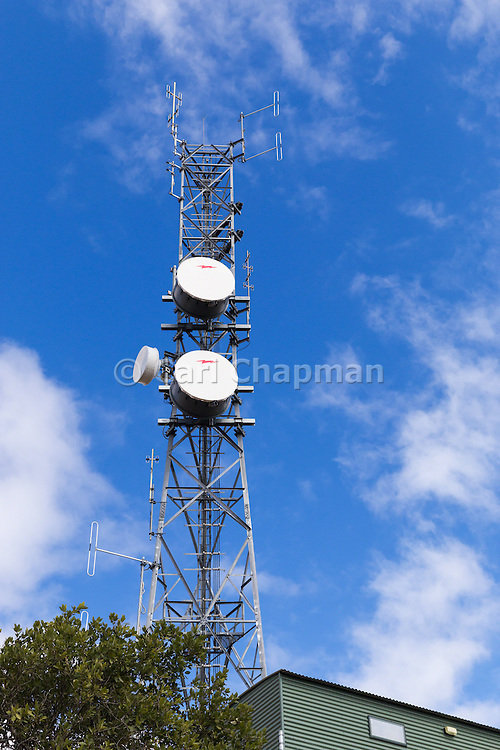 Microwave and mobile radio communications antenna array on a tower on hill in Charters Towers, Queensland, Australia