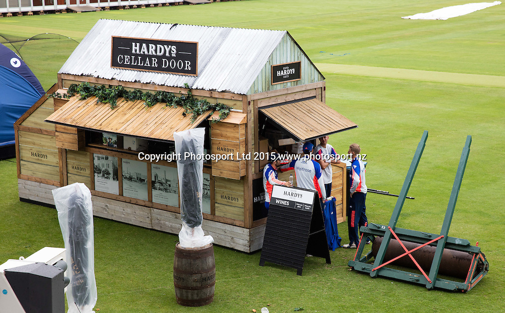 Players shelter from the rain in a sponsor's bar during net practice on the eve of the 2nd Investec Test Match between England and Australia at Lord's Cricket Ground, London. Photo: Graham Morris (Tel: +44(0)20 8969 4192 Email: sales@cricketpix.com) 14/07/15