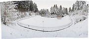 Heavy snow blankets Reservoir 1 in Mount Tabor Park, Portland, Oregon. Most of the snow fell on 10 January 2017; this phot taken the following day. Nikon D700.  Nikon PC-Nikkor 35mm f/2.8 at f/11 with 6mm downward shift.