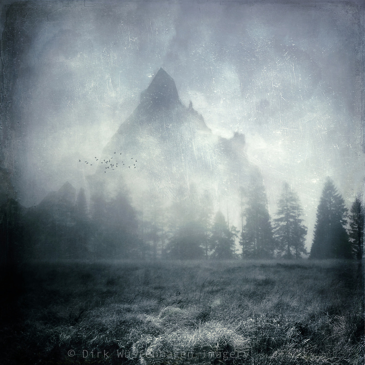 Moorland with row of trees in the mist and a mountain in the background. Manipulated photograph inspired by LOR novels.<br /> Society6 Products: http://bit.ly/2vP78nX