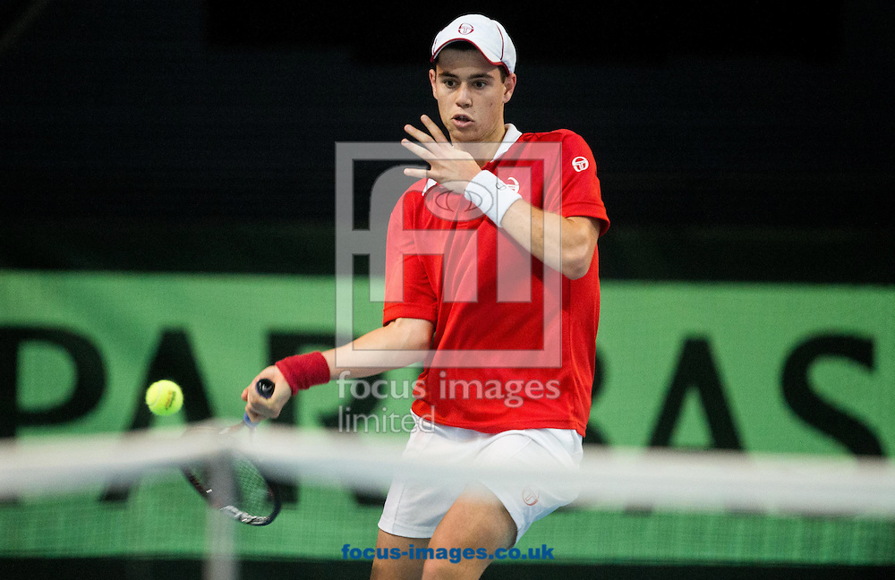 Lucas Catarina of Monaco during the first round Davis Cup match between Solvenia and Monaco  at Tennis Arena Tabor, Maribor, Slovenia.<br /> Picture by EXPA Pictures/Focus Images Ltd 07814482222<br /> 05/02/2017<br /> *** UK &amp; IRELAND ONLY ***<br /> <br /> EXPA-SLO-170205-0077.jpg