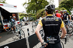 Fans look on as Team Omega Pharma Quick Step adjust their bikes after a training ride at Rudding park near Harrogate, location of the teams Hotel - Photo mandatory by-line: Rogan Thomson/JMP - 07966 386802 - 04/07/2014 - SPORT - CYCLING - Harrogate, Yorkshire - Le Tour de France Grand Depart Previews.