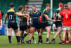Worcester Warriors U18 celebrate after winning the match 36-26 - Rogan Thomson/JMP - 16/02/2017 - RUGBY UNION - Sixways Stadium - Worcester, England - Worcester Warriors U18 v Saracens U18 - Premiership Rugby Under 18 Academy Finals Day 5th Place Play-Off.