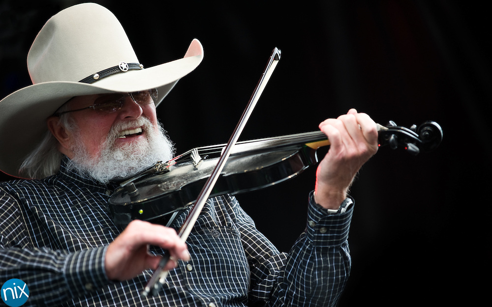 The Charlie Daniels Band performs during the Vietnam Veterans Homecoming Celebration at Charlotte Motor Speedway in Concord on March 31, 2012.