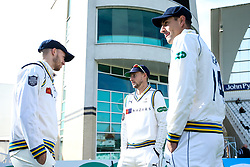 Joe Root of Yorkshire waits for the start of play with teammates at Nottinghamshire - Mandatory by-line: Robbie Stephenson/JMP - 05/04/2019 - CRICKET - Trent Bridge - Nottingham, England - Nottinghamshire v Yorkshire - Specsavers County Championship Division One