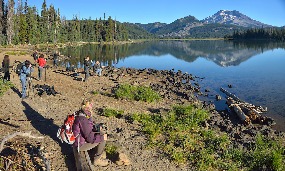 Photographers at Sparks Lake,Oregon,USA