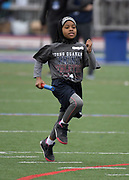 Apr 27, 2018; Philadelphia, PA, USA; Youngsters sprint in the Philadelphia Elementary Schools shuttle relays during the 124th Penn Relays at Franklin Field.