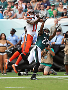 Cleveland Browns wide receiver Terrelle Pryor, Sr. (11) leaps high and catches a 44 yard pass goof for a first down at the Philadelphia Eagles 9 yard line while covered by Philadelphia Eagles cornerback Nolan Carroll (22) during the 2016 NFL week 1 regular season football game against the Philadelphia Eagles on Sunday, Sept. 11, 2016 in Philadelphia. The Eagles won the game 29-10. (©Paul Anthony Spinelli)