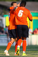 Shaun Whalley of Luton Town celebrates scoring the opening goal with Pelly Mpanzu of Luton Town (right) during the Pre Season Friendly match at Top Field, Hitchin<br /> Picture by David Horn/Focus Images Ltd +44 7545 970036<br /> 17/07/2014