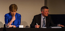 Pictured: Nicola Sturgeon and Willie Rennie<br /> <br /> Party leaders Nicola Sturgeon, Kezia Dugdale, Ruth Davidson, Willie Rennie and Patrick Harvie faced questions from the public at an LGBTI election hustings event arranged by Stonewall Scotland, LGBT youth Scotland, Equaity Network and The Scottish Equality Network at the Royal College of Surgeons of Edinburgh. Edinburgh. 31 March 2016<br /> <br /> Ger Harley   Edinburghelitemedia.co.uk