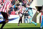 A shot from Dan Holman sails in for The Robins during the Vanarama National League match between Cheltenham Town and Boreham Wood at Whaddon Road, Cheltenham, England on 25 March 2016. Photo by Carl Hewlett
