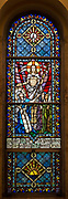 Stained glass at Holy Hill, Hubertus, depicts resurrection of Jesus Christ. (Sam Lucero photo)