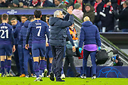 Tottenham Hotspur Manager José Mourinho thanks the travelling away fans at full time during the Champions League match between Bayern Munich and Tottenham Hotspur at Allianz Arena, Munich, Germany on 11 December 2019.