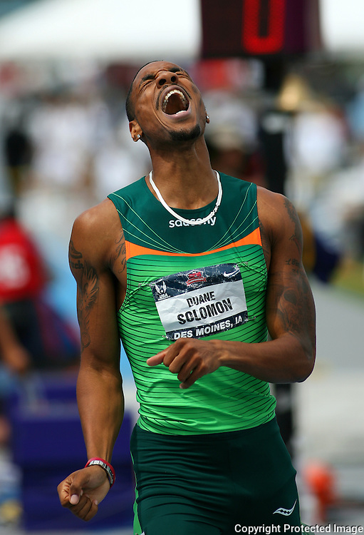 SOLOMON - 13USA, Des Moines, Ia. - Duane Solomon shouts for joy after winning the 800.  Photo by David Peterson