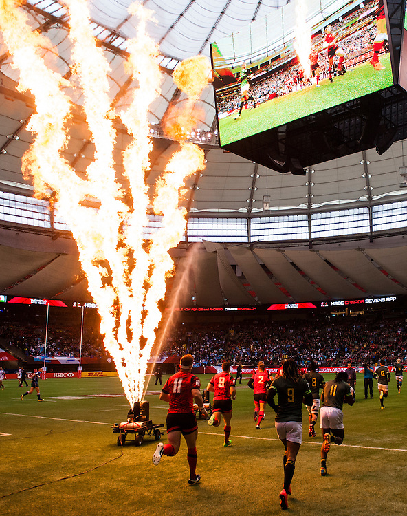 Wales and South Africa  enter the field of play during the knockout stages of the 2016 Canada Sevens leg of the HSBC Sevens World Series Series at BC Place in  Vancouver, British Columbia. Sunday March 13, 2016.<br /> <br /> Jack Megaw<br /> <br /> www.jackmegaw.com<br /> <br /> 610.764.3094<br /> jack@jackmegaw.com