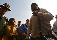 October 23 2010: Iowa Hawkeyes defensive end Adrian Clayborn (94) walks into the stadium before the start of the NCAA football game between the Wisconsin Badgers and the Iowa Hawkeyes at Kinnick Stadium in Iowa City, Iowa on Saturday October 23, 2010. Wisconsin defeated Iowa 31-30.