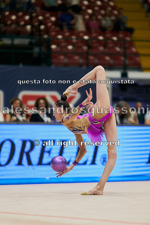 """Zlata Dziatlav during the """"1st Trofeo Citta di Monza"""" tournament. On this occasion we have seen the rhythmic gymnastics teams of Belarus and Italy challenge each other. The Bilateral period was only June 9, 2019 at the Candy Arena in Monza, Italy."""