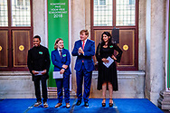 AMSTERDAM - King Willem-Alexander with artist Raquel van Haver, Sam Hersbach and Neo Matloga. King Willem-Alexander during the ceremony of the Royal Prize for Free Painting 2018 in the Royal Palace.  copyrught robin utrecht