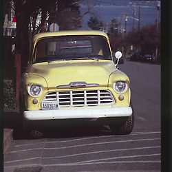 Vintage Yellow Truck, Port Townsend, Olympic Peninsula, Washington, US