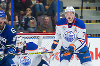 PENTICTON, CANADA - SEPTEMBER 16: Ben Betker #76 of Edmonton Oilers stands in front of the net against the Vancouver Canucks on September 16, 2016 at the South Okanagan Event Centre in Penticton, British Columbia, Canada.  (Photo by Marissa Baecker/Shoot the Breeze)  *** Local Caption *** Ben Betker;