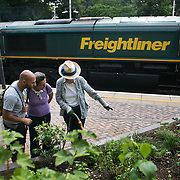 Shelagh explains to an Italian couple who have just come off thetrain about the garden. A massive goods train passes behind them. Shelagh Molloy, a local resident to Brondesbury Park Stations puts in a few hours of work in the newly finished Energy Garden, watering and weeding. The water is collected rain water and the pump is solar panel powered. Energy Gardens is a pan-London community garden project where reclaimed land alongside over ground train stations and track are cultivated by local community groups. Up 50 gardens are projected with the rail network being the connection grid. The project is a collaboration between Repowering London, local community groups and station managers working for TFL.
