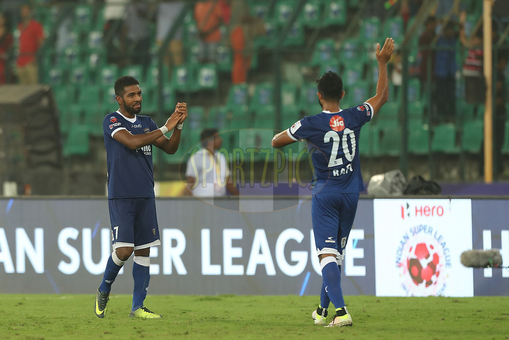 Gregory Nelson of Chennaiyin FC and Mohammed Rafi of Chennaiyin FC after the match during match 6 of the Hero Indian Super League between Chennaiyin FC and NorthEast United FC held at the Jawaharlal Nehru Stadium, Chennai, India on the 23rd November 2017<br /> <br /> Photo by: Ron Gaunt / ISL / SPORTZPICS