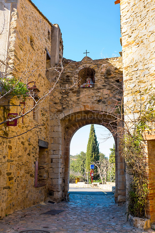 Entrance gate to Castelnou, Pyrenees Orientales, France