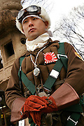 "Nationalist dressed in a ""kamikaze"" pilot uniform at the Yasukuni shrine in Tokyo, on 11/Feb./05 ""National Foundation Day"" (Foundation Day, to all intents and purposes, is a restoration of Kigensetsu"