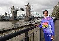 Virgin Money London Marathon 2015<br /> <br /> Photocall featuring the Favourites for the Womens Race<br /> <br /> Picture shows Aselefech Mergia<br /> <br /> <br /> <br /> <br /> Photo: Bob Martin for Virgin Money London Marathon<br /> <br /> This photograph is supplied free to use by London Marathon/Virgin Money.