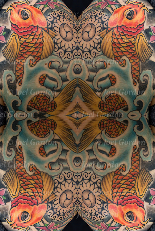 Photographic series of digital computer tattoo art, an illusion / fantasy generated from Japanese Koi Fish tattoo. <br /> <br /> Two or more layers or generations were used to enhance, alter, manipulate the image, creating an abstract surrealistic mirrored symmetry.