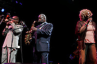 l-r Greg Boyer, Maceo Parker and Martha High performing at The openning night of Celebrate Brooklyn in Prospect Park on June 15, 2006..Celebration.