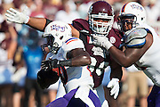 STARKVILLE, MS - SEPTEMBER 19:  Chris Jone #20 of the Northwestern State Demons runs the ball during a game against the Mississippi State Bulldogs at Davis Wade Stadium on September 19, 2015 in Starkville, Mississippi.  The Bulldogs defeated the Demons 62-13.  (Photo by Wesley Hitt/Getty Images) *** Local Caption *** Chris Jones