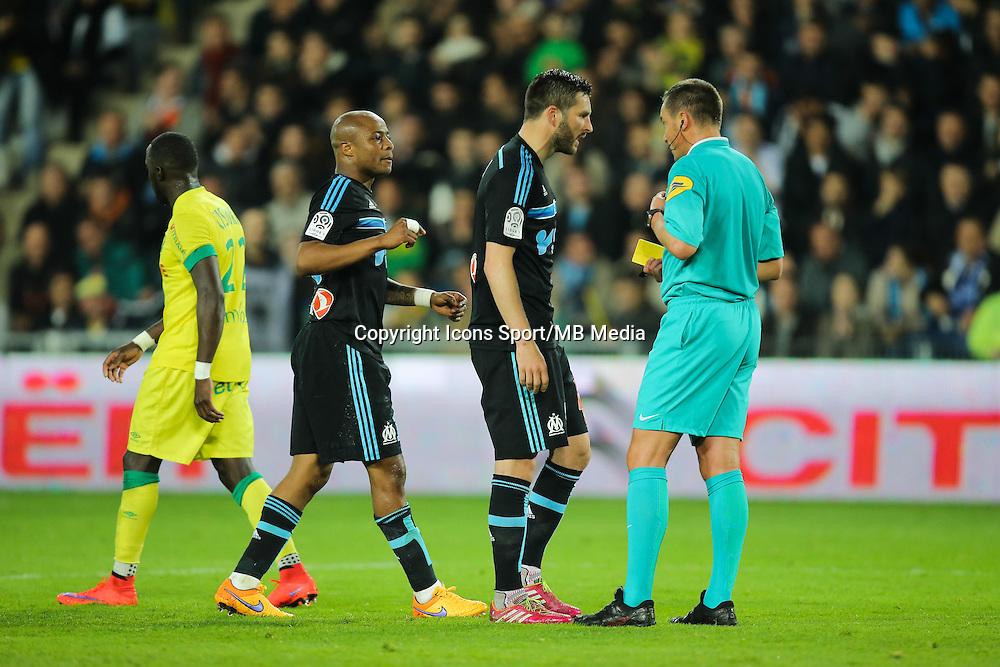 Andre AYEW / Andre Pierre GIGNAC / Stephane LANNOY - 17.04.2015 - Nantes / Marseille - 33eme journee de Ligue 1<br />Photo : Vincent Michel / Icon Sport