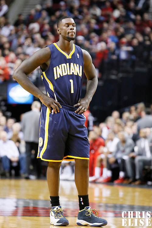 02 December 2013: Indiana Pacers shooting guard Lance Stephenson (1) rests during the Portland Trail Blazers 106-102 victory over the Indiana Pacers at the Moda Center, Portland, Oregon, USA.